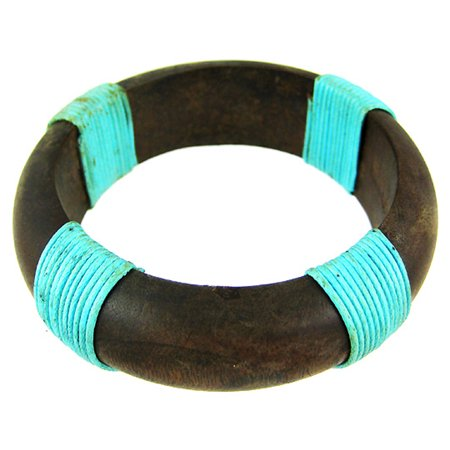 1 Inch Wide Wooden Bangle Bracelet Turquoise Blue Cord - Wooden Bangles
