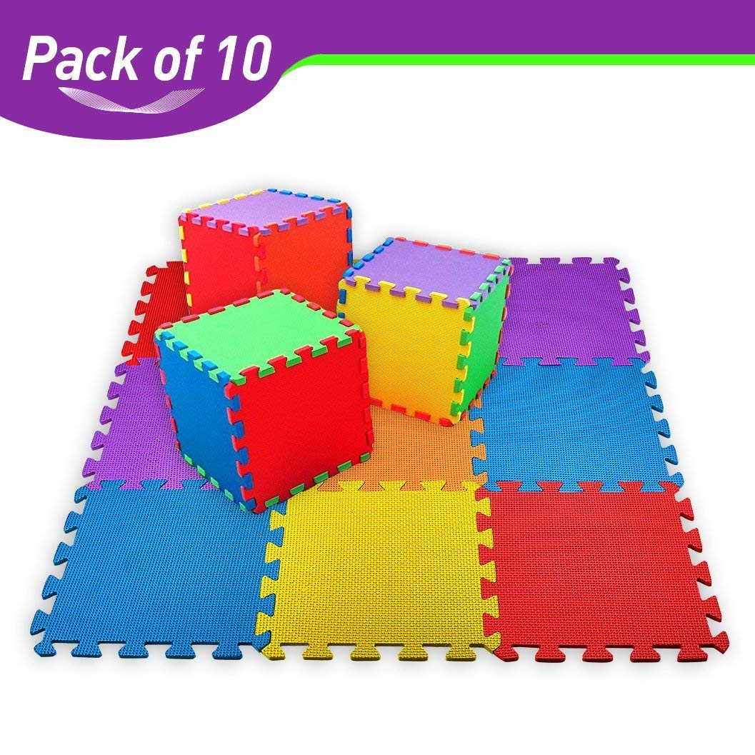 CREATIVE TIME Floor Mat 10-tile Multi-Color Exercise Mat Solid Foam EVA Playmat Kids Safety
