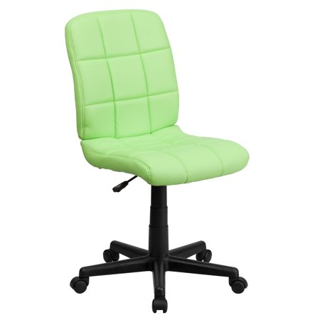 A Line Furniture Menil Armless Quilted Design Green Leatherette Swivel Adjustable Office Chair ()