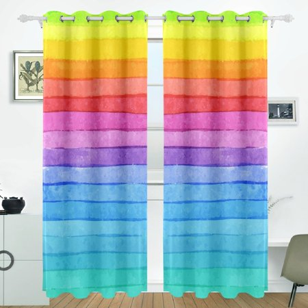 POPCreation Striped Rainbow Window Curtain Blackout Curtains Darkening  Thermal Blind Curtain for Bedroom Living Room,2 Panel (52Wx84L Inches)