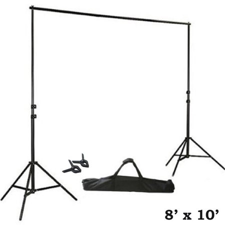 BalsaCircle Black 8 ft x 10 ft Photo Backdrop Stand Kit - Studio Background - Wedding Party Photo Booth Studio Decorations - Photo Booth Backdrop Stand