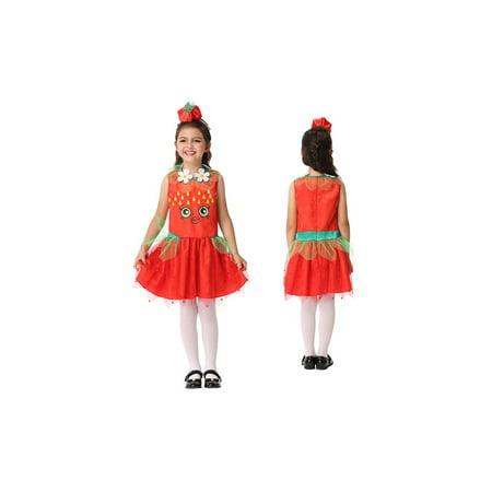Girl's Strawberry Sweet Bakery Goods Character Dress Ups Costume 2 Piece (Children's Ups Costume)
