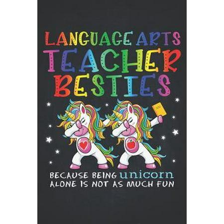 Unicorn Teacher: Language Arts Teacher Besties Teacher's Day Best Friend Composition Notebook College Students Wide Ruled Lined Paper M