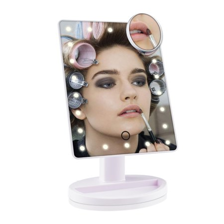 Lowestbest LED Makeup Mirror for Ladies, Large Screen Makeup Mirrors with 12 Light for Night, White / Black Touch Dimmable and Memory Function Mirrors for (Brica Day And Night Light Musical Mirror)