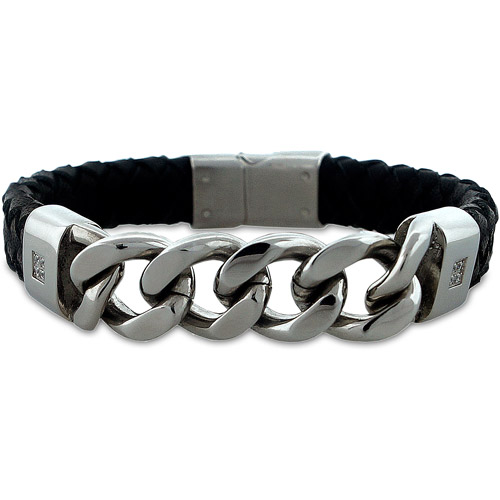 Men's CZ Leather and Stainless Steel Link Chain and Braided Bracelet, 8""