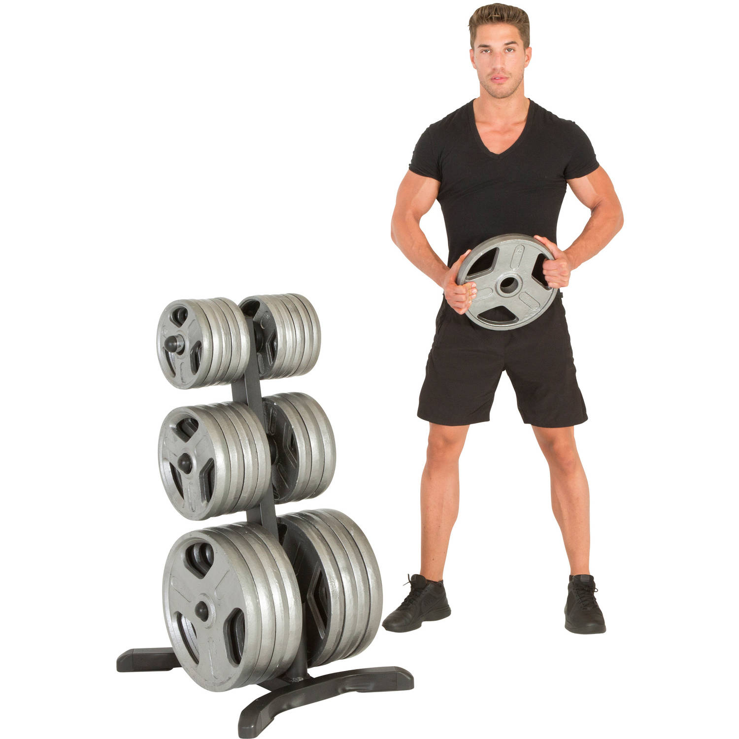IRONMAN Triathlon X-Class Olympic Weight Tree, Bar Holders, Chrome Storage Posts, 1000 lb Weight Plate Capacity with Limited Lifetime Warranty