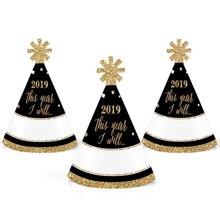 New Years Hat (New Year's Eve - Gold - Mini Cone 2019 New Years Eve Resolution Party Hats - Small Little Party Hats - Set of)