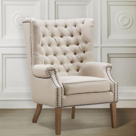TOV Furniture Abe Linen Wing Chair, Beige ()