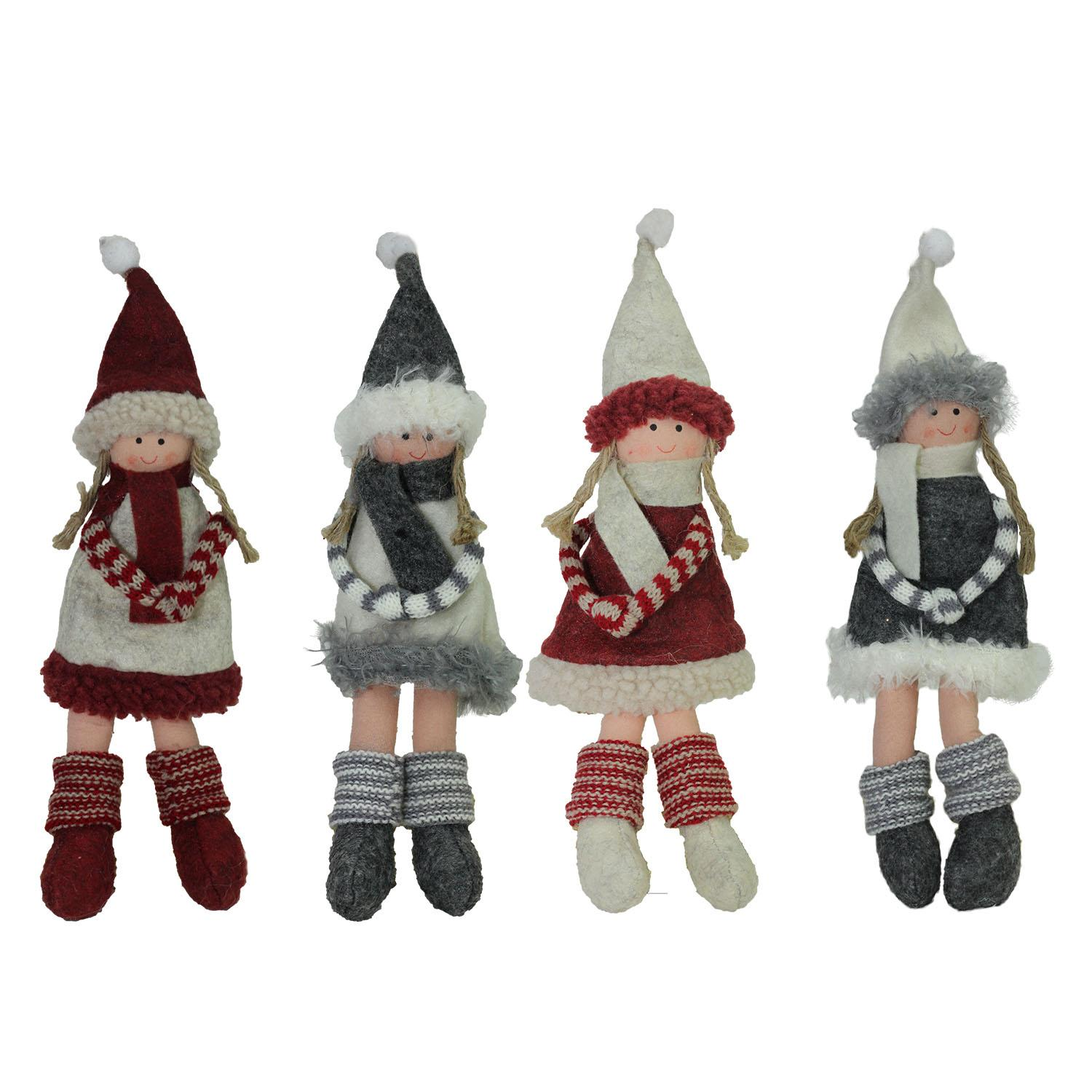 """Set of 4 Plush Red, Gray, and Beige Girls Christmas Doll Ornaments 12"""""""