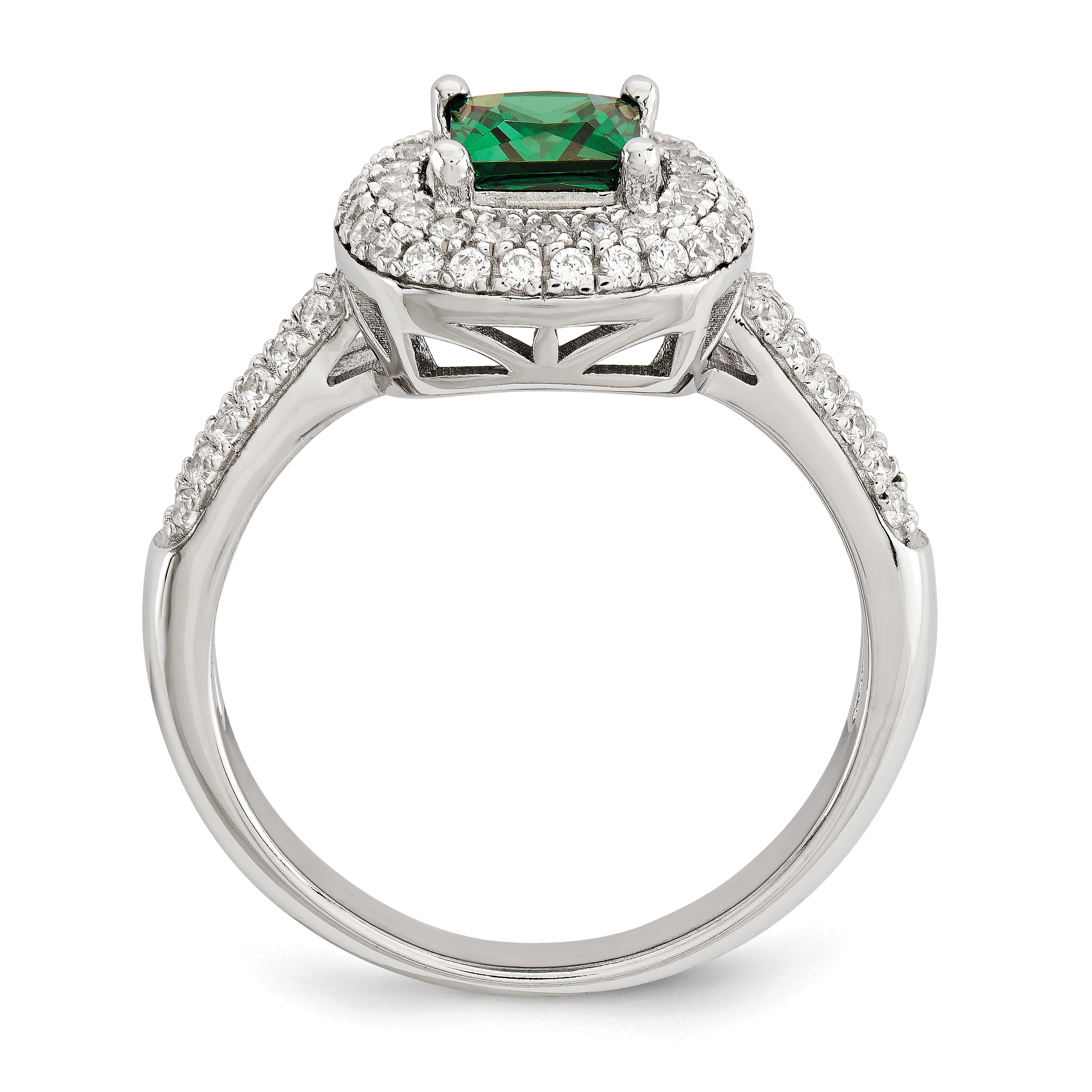 925 Sterling Silver White Green Cubic Zirconia Cz Band Ring Size 6.00 Fine Jewelry Gifts For Women For Her - image 2 of 3