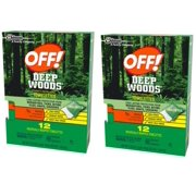 (2 pack) Off! Deep Woods Insect Repellent Towelettes 12ea
