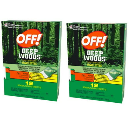 (2 pack) Off! Deep Woods Insect Repellent Towelettes - Urine Off Wipes