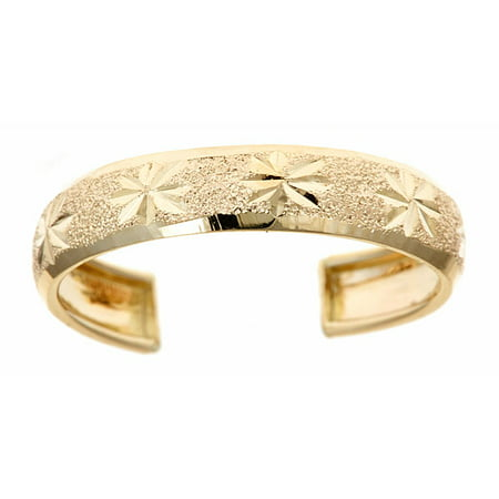 Ornate Design Ring (10kt Solid Yellow Gold Adjustable Toe Ring In a Diamond-Cut Design )