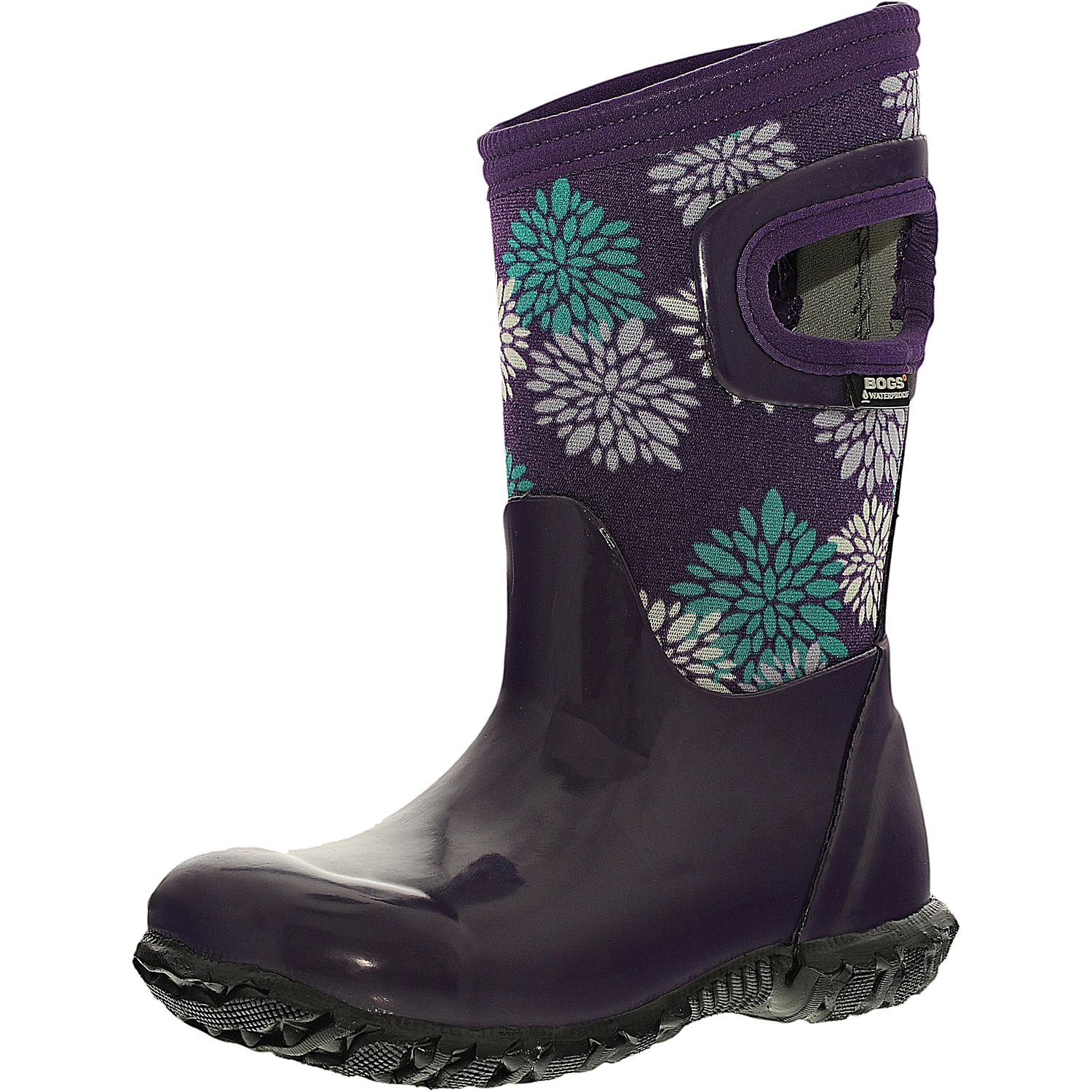 Bogs Girl's North Hampton Pompons Rubber Grape Multi Ankle-High Rubber Boot - 9M