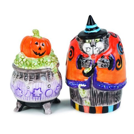 Fitz and Floyd Halloween Kitty Witches Salt and Pepper Shakers Retired