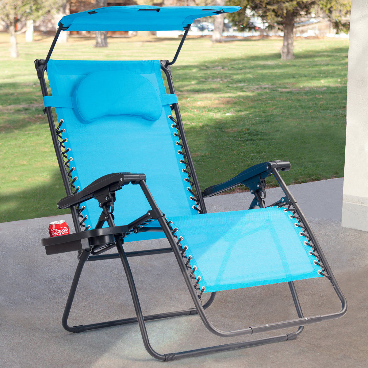Gymax Folding Recliner Zero Gravity Lounge Chair W/ Shade Canopy Cup Holder Blue