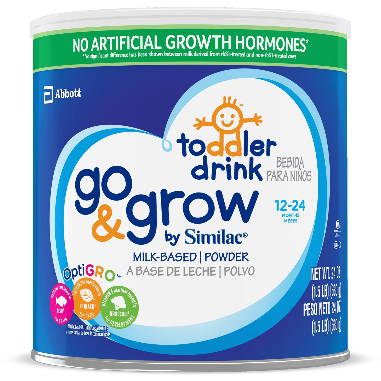 Similac Go & Grow by Similac Toddler Drink with 2'-FL HMO for Immune Support, Non-GMO, Powder, 24 oz