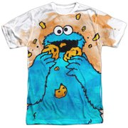 Sesame Street Classic TV Show Cookie Monster Crumbs Adult Front Print T-Shirt