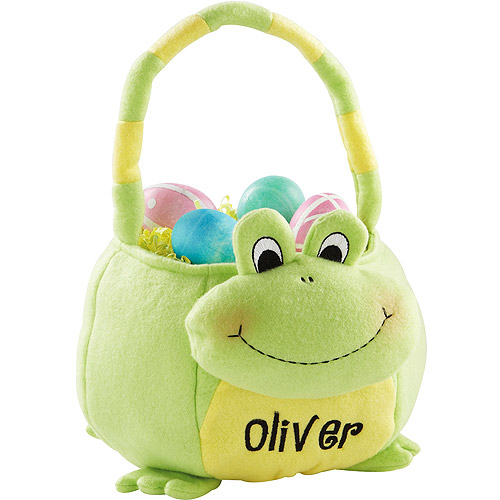 Personalized Plush Easter Baskets, Frog