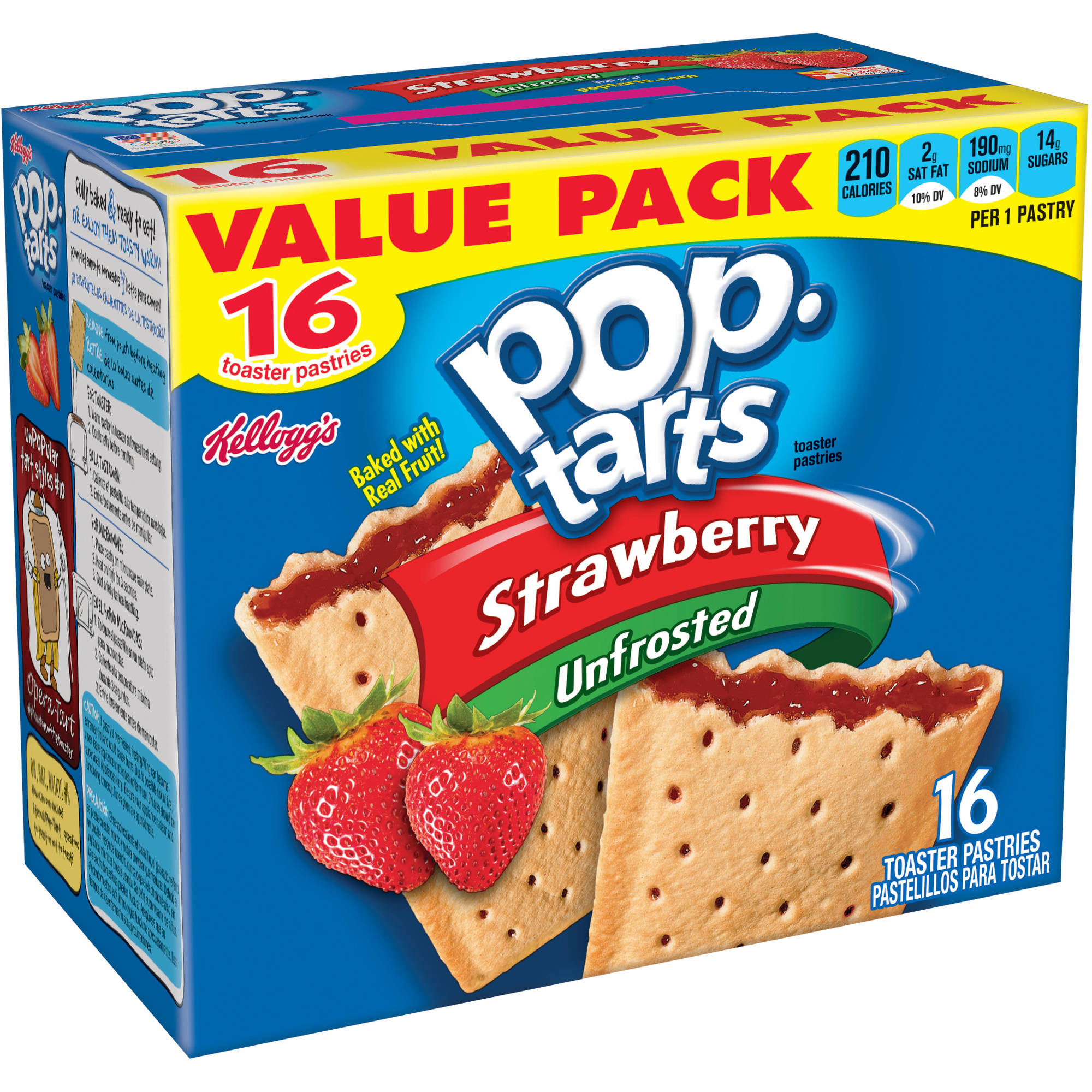 Kellogg's Pop-Tarts Breakfast Toaster Pastries, Unfrosted Strawberry Flavored, Value Pack, 29.3 oz 16 Ct