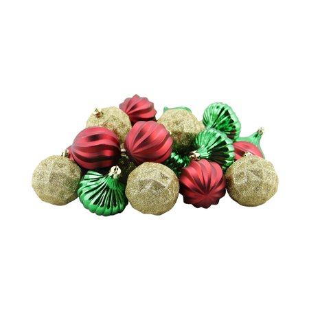 26ct red green and gold 3 finish shatterproof christmas for Red and green christmas decorations