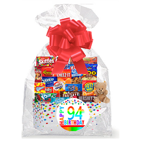 CakeSupplyShop Item094BSG Happy 94th Birthday Rainbow Thinking Of You Cookies Candy More Care Package Snack Gift Box Bundle Set