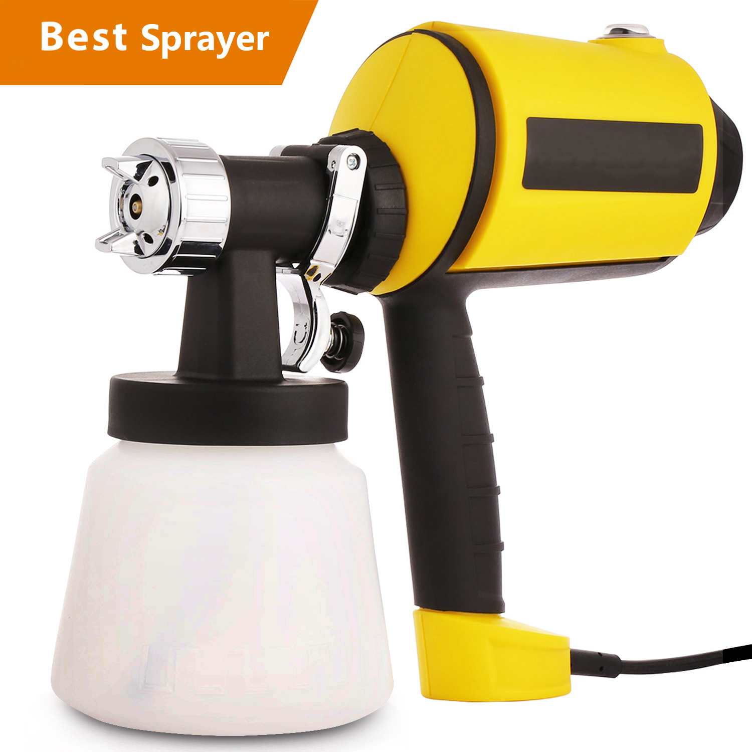 Clearance&Sale! Electric Paint Sprayer Gun Power Painter 400 Watt HVLP Spray Gun Kit for Home, 3 Nozzle Sizes, Lightweight, Easy Spraying and Cleaning, Perfect for Beginner (US Stock) Yellow HFON