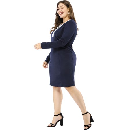 Unique Bargains Women's Plus Size Sheath Dress - M&m Dress Up
