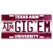 Texas A & M GIG EM novelty vanity license plate