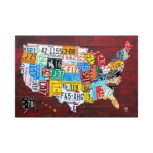 United States License Plate Map 36x24 Art Print Poster   Pop Art Rustic Educational