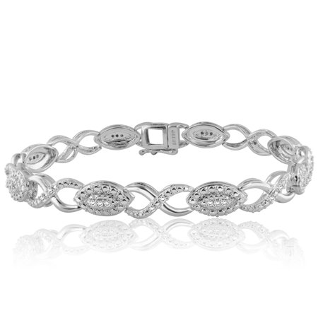 1/2 Carat T.W. Diamond Silver tone over Brass Infinity Link Fashion Bracelet, 7.5 Inch.
