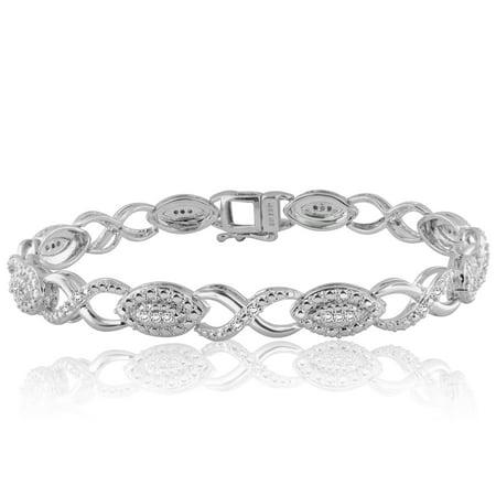 Diamond Two Tone Link Bracelets (1/2 Carat T.W. Diamond Silver tone over Brass Infinity Link Fashion Bracelet, 7.5)