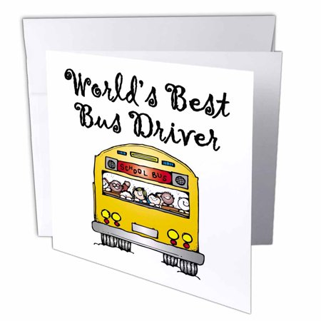 3dRose Worlds Best Bus Driver. - Greeting Cards, 6 by 6-inches, set of (The Best Driver In The World)