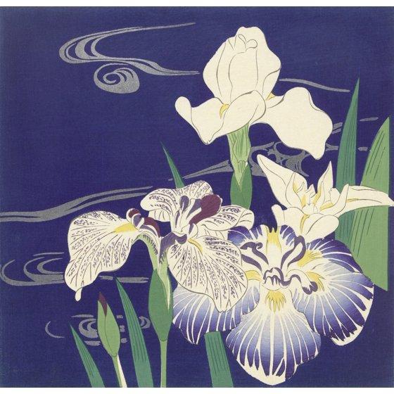 Irises By Tsukioka Kogyo C 1890 1900 Japanese Print Color Woodcut Blooming Against A