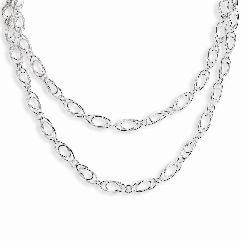 Sterling Silver 42in Polished Fancy Oval Link Necklace