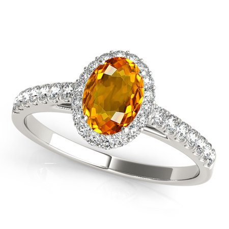 1.75 Ct Diamond & Oval Shaped Citrine Engagement/Wedding Ring - 10K Gold
