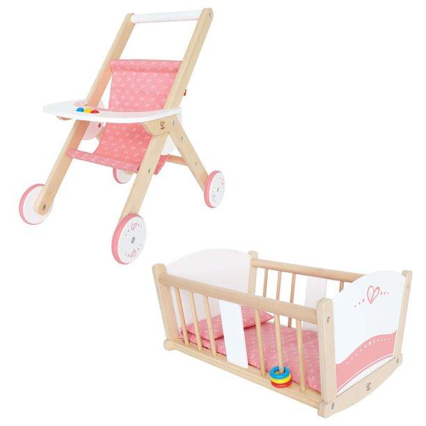 Hape Kids Wooden Pretend Play Baby Doll Stroller Rock A Bye Cradle Crib Toys Walmart Com Walmart Com