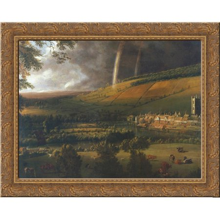 - Landscape with Rainbow, Henley on Thames 24x20 Gold Ornate Wood Framed Canvas Art by Jan Siberechts