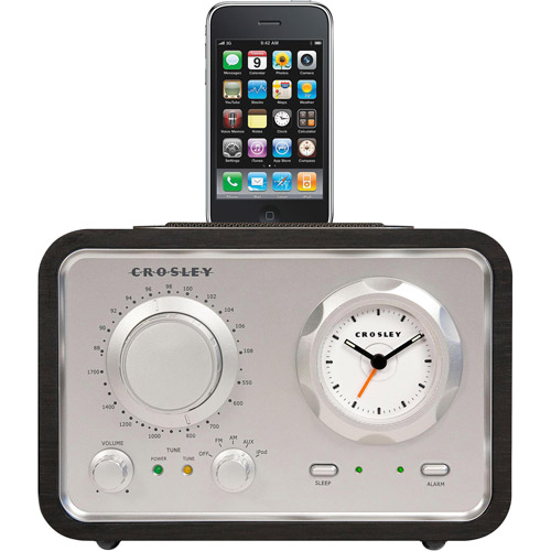 Crosley iDuet CR3010 Retro AM/RM Radio with Analog Clock and iPod Dock