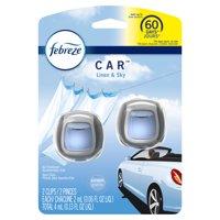 Febreze Car Odor-Eliminating Air Freshener Vent Clips, Linen & Sky, 2 count