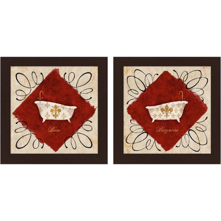 Red and gold bath art set of 2 for Red and gold bathroom set