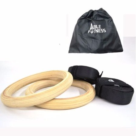 Ablefitness Wood Wooden Gym Gymnastic Rings Adjustable Straps Cross Fit Strength Training