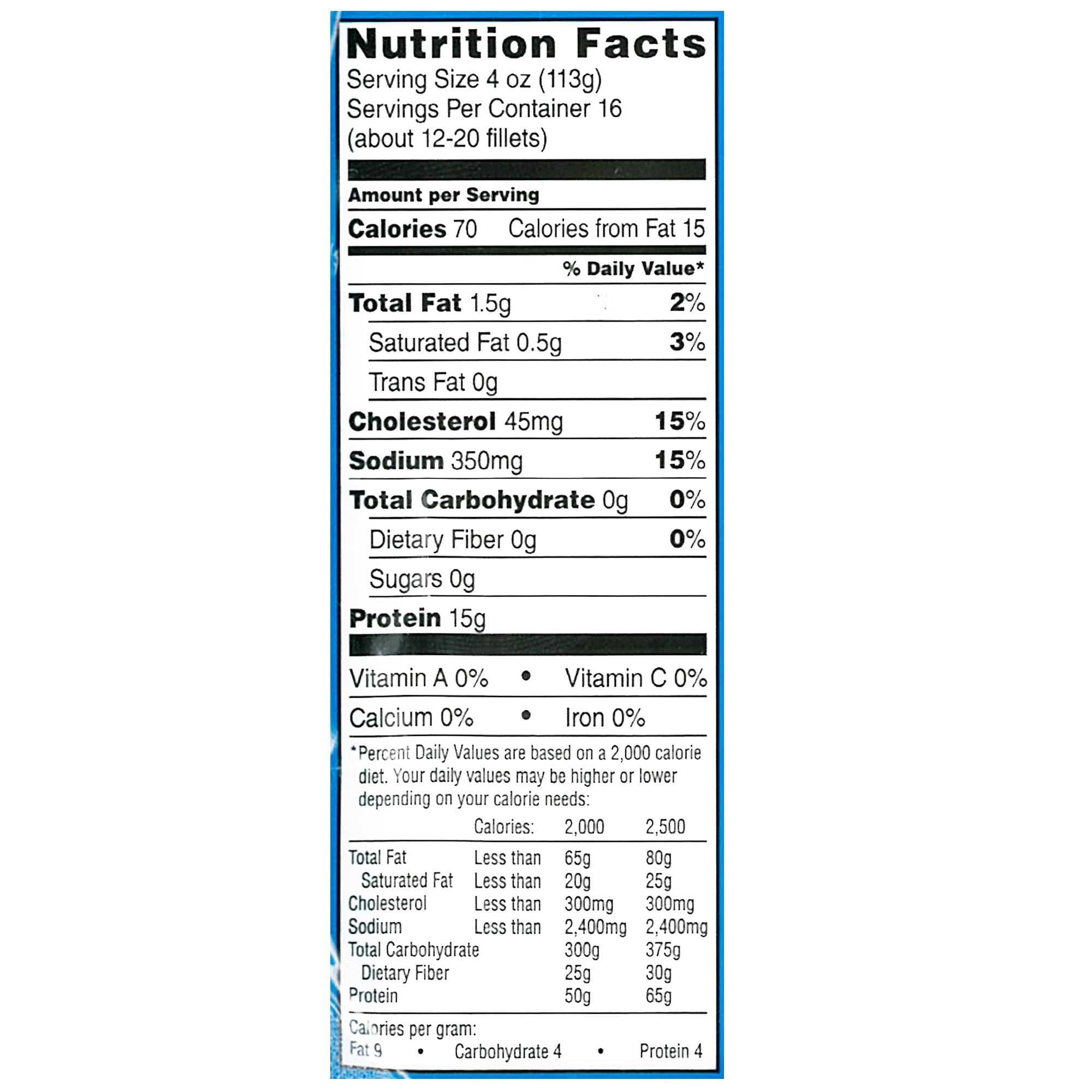 Fillet fish nutrition facts best fish 2017 for Cod fish nutrition