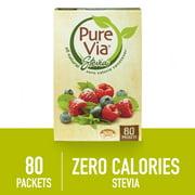 PURE VIA Stevia Sweetener Packets, Sugar Substitute, Natural Sweetener, Zero Calorie Natural Sweetener Packets, 80-Count