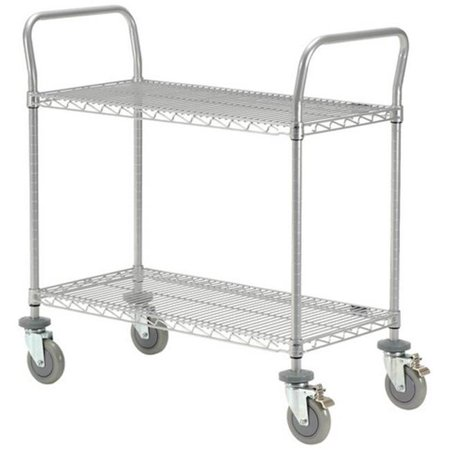 Nexel Industries 1830P2CB 18 x 30 in. 2 Shelf Utility Cart with in Chrome Finish Polyurethane Casters, Chrome