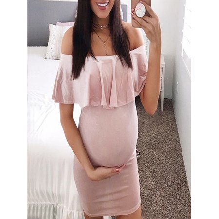 Fashion Womens Pregnants Off Shoulder Ruffles Solid Nursing Maternity Dress (Maternity Pink Dress)