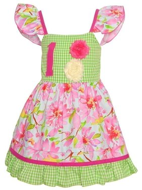 a9e73a51ddbdb Product Image Sophias Style Exclusive Baby Girl Pink Green Floral Check  Birthday Dress 12M-24M