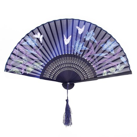 Folding Hand Fan - Women's Folding Hollowed Bamboo Hand Fan with Tassel Wedding Party Gift (Butterfly Lily)