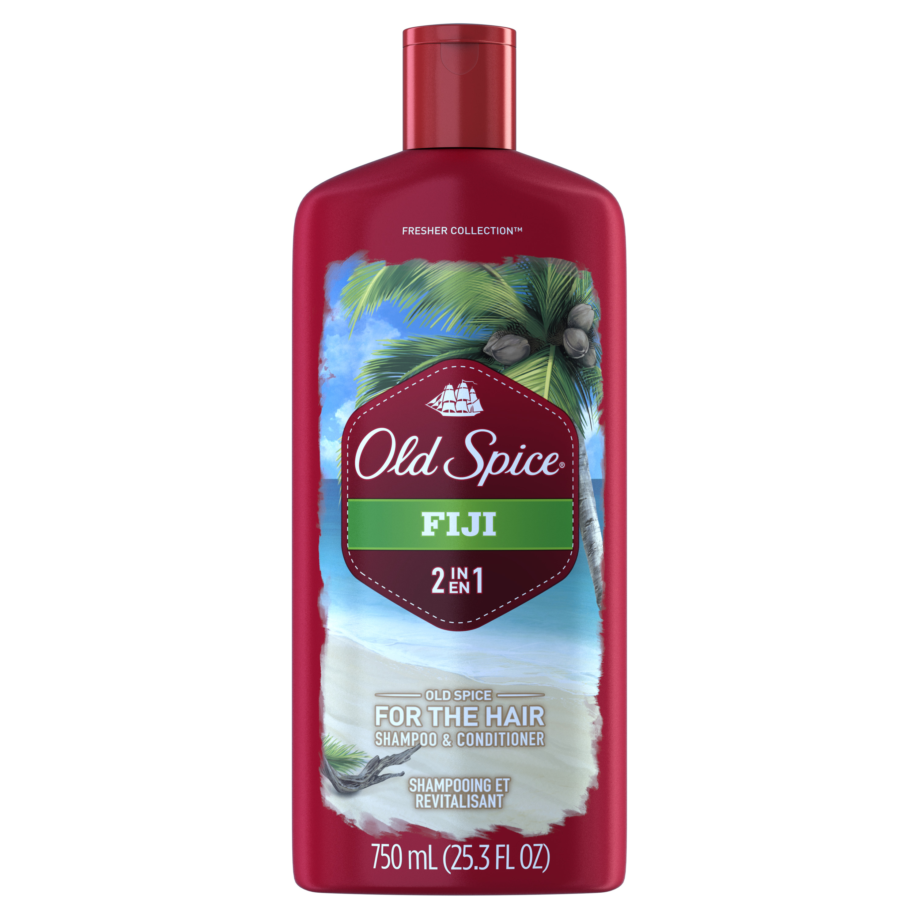 Old Spice Fiji 2-in-1 Shampoo and Conditioner 25.3 Fl Oz