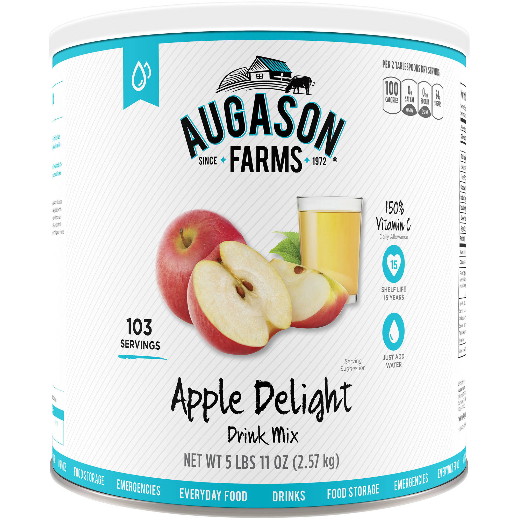 Augason Farms Emergency Food Apple Delight Drink Mix, 91 oz